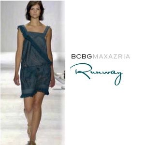 BCBGMaxAzria Voile Runway Teal lace embroidery